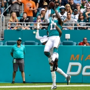 DeVante Parker took flight for seven catches for 159 yards against the Eagles. (Tony Capobianco for Five Reasons Sports)