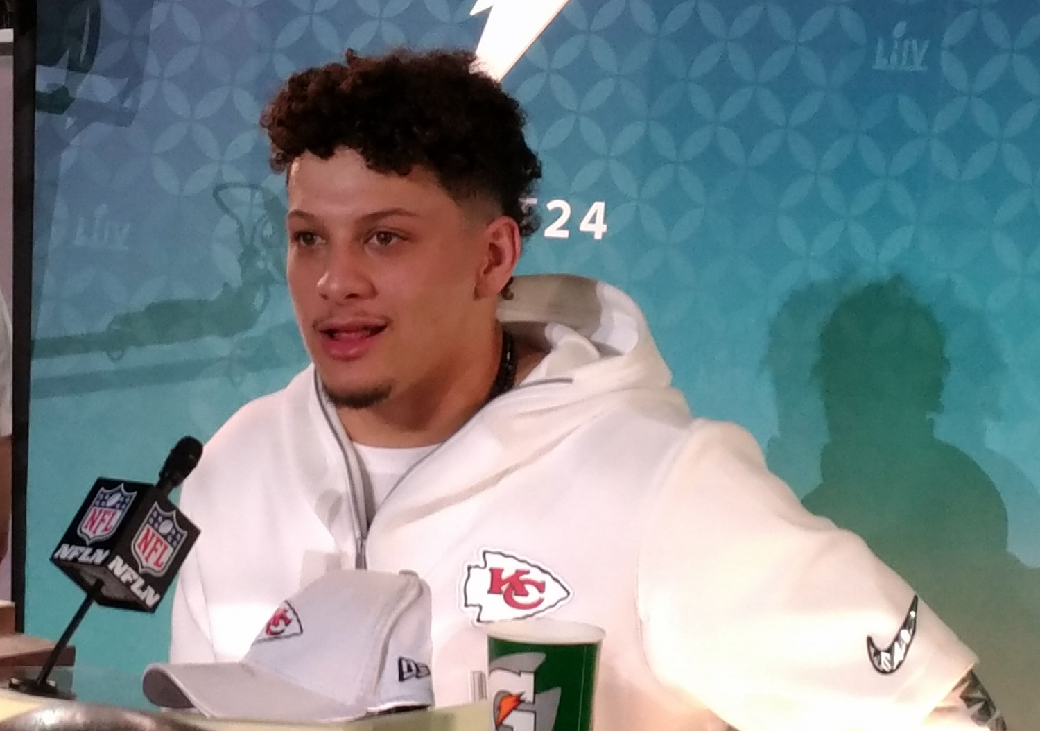 Chiefs quarterback Patrick Mahomes at the opening night event for Super Bowl 54. (Craig Davis for Five Reasons Sports Network)