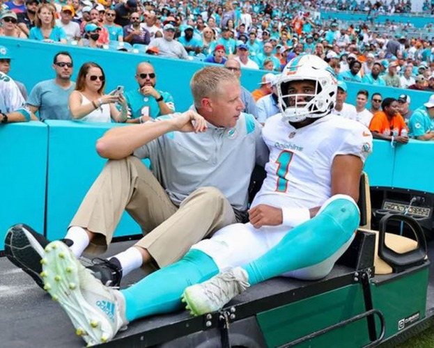 Tua Tagovailoa left on a cart with bruised ribs in the first quarter of the Dolphins' 35-0 loss to the Bills.