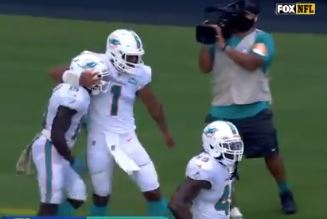 Tua Tagovailoa had reason to celebrate as the Dolphins won in his first NFL start against the Rams.