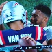 Tua Tagovailoa greets Kyle Van Noy after the Dolphins' win at New England.